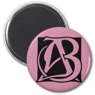 AB-Monogramm mit schwarzem Hintergrund Runder Magnet 5,7 Cm