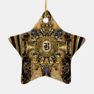 Abasham viktorianisches Stern-Monogramm Keramik Stern-Ornament