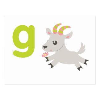 ABC-Tiere - geschwätzige Ziege Postkarte