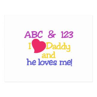 ABC u. 123 i-Liebe-Vati u. er Lieben ich! Postkarte