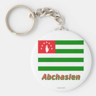 Abchasien Flagge MIT Namen Standard Runder Schlüsselanhänger