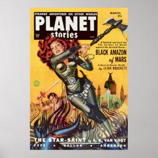 Abdeckungs-Kunst-Schwarzes Amazonas von Mars 1951 Poster