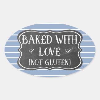 Abdominales gebacken mit Liebe-nicht Gluten-Tafel Ovaler Aufkleber