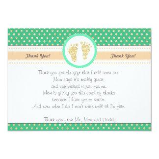 Abdruck-Babyparty danken Ihnen, tadelloses Gold zu 12,7 X 17,8 Cm Einladungskarte