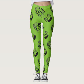 Abdruck-Gamaschen-Grün Leggings