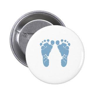 Abdrücke des blauen Babys Runder Button 5,7 Cm