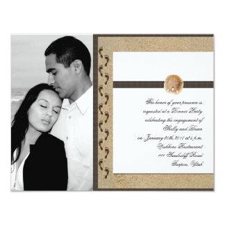 Abdrücke in der Sand-Hochzeits-Verlobung 10,8 X 14 Cm Einladungskarte