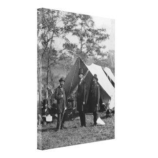 Abe Lincoln und Schlachtfeld Antietam A. Pinkerton Leinwanddruck