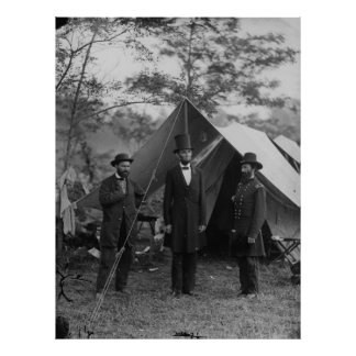 Abe Lincoln und Schlachtfeld Antietam A. Pinkerton Poster