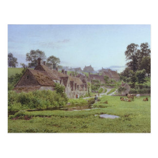 Abend in Arlington-Reihe, Bibury, Gloucestershire Postkarte