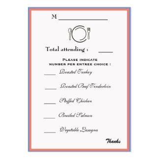 Abendessen-Auswahl-Karte Mini-Visitenkarten