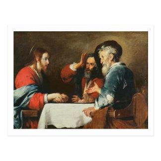 Abendessen bei Emmaus (Öl auf Leinwand) 2 Postkarte