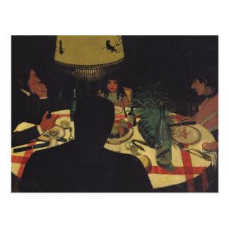 Abendessen durch Lamplight, 1899 Postkarte