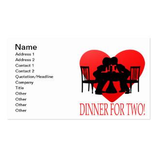 Abendessen für zwei visitenkartenvorlagen