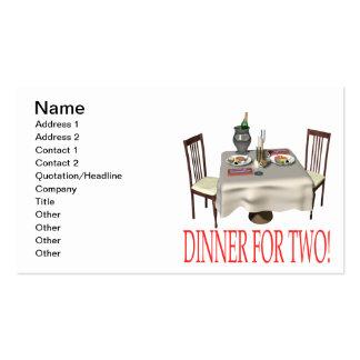 Abendessen für zwei visitenkarten
