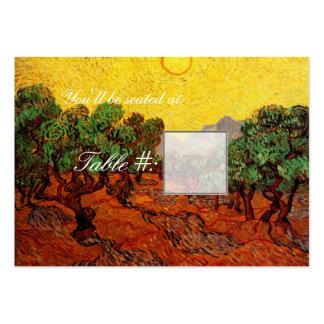 Abendessen-Tischnummerkarte. Olivenbäume Mini-Visitenkarten