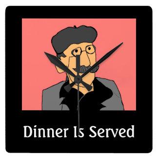 Abendessen wird gedient quadratische wanduhr