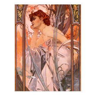 Abendreverie-Postkarte Alphonse Mucha Postkarte