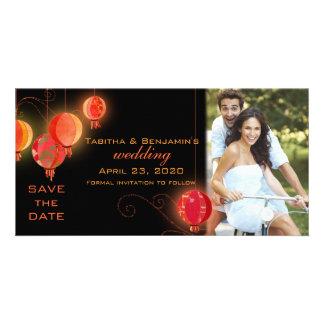 Abends-Garten-Laternen, die Save the Date Wedding Karte