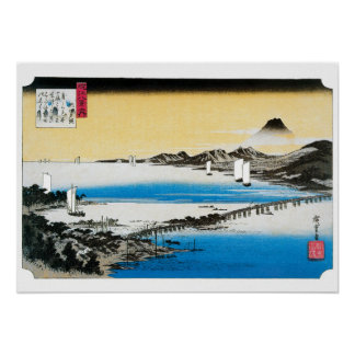 Abends-Glühen und Boote - Hiroshige Drucke