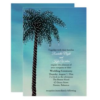 Abends-Schnur beleuchtet Palme-Hochzeits-Einladung Karte