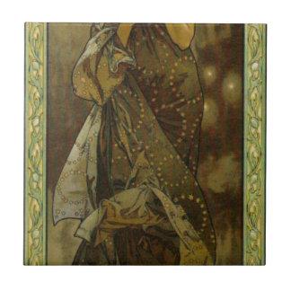 Abends-Stern durch Alphonse Mucha Keramikfliese