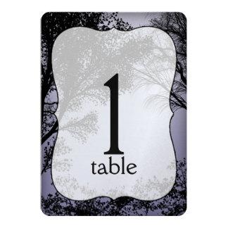 Abends-Waldmetallische Wedding Tischnummer Karte