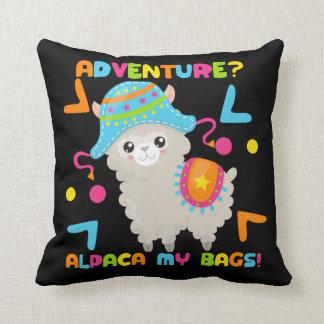 Abenteuer-Alpaka mein Taschen-niedliches lustiges Kissen