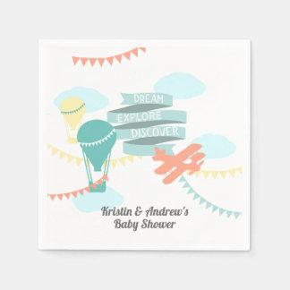 Abenteuer-Babyparty-Flugzeug und Ballon Serviette