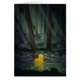 Abenteuer-Ente im dunklen Wald Grußkarte
