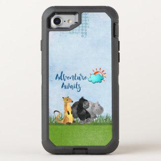 Abenteuer erwartet Aquarell-Safari-Dschungel-Tiere OtterBox Defender iPhone 8/7 Hülle