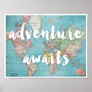 Abenteuer erwartet auf Vintagem Weltkarten-Plakat Poster
