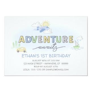 Abenteuer erwartet Foto-Geburtstags-Einladung Karte