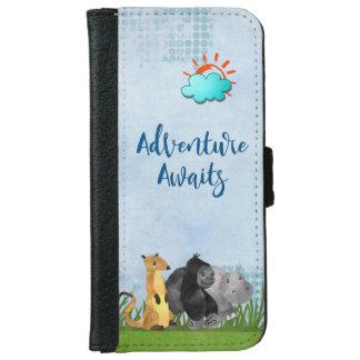 Abenteuer erwartet - Gorilla Flusspferd und iPhone 6/6s Geldbeutel Hülle