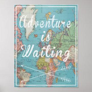 Abenteuer ist wartete auf Vintage Weltkarte Poster