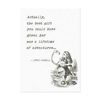 Abenteuer-Zitat der Alice im Wunderland-W/Flamingo Leinwanddruck