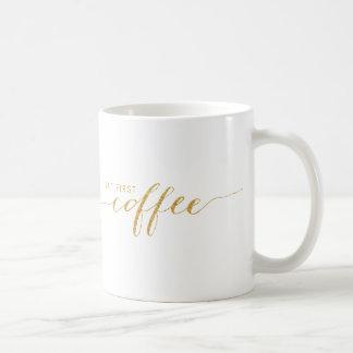 Aber erste Kaffee-Imitat-Glitterconfetti-Tasse Tasse