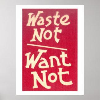 Abfall nicht, wollen nicht Slogan Poster