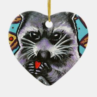 Abfall-Panda findet Liebe Keramik Ornament
