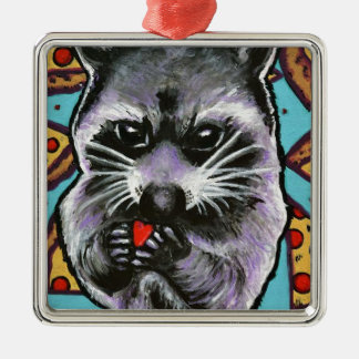 Abfall-Panda findet Liebe Silbernes Ornament