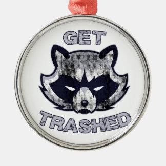 Abfall-Panda-Party-Leute Silbernes Ornament