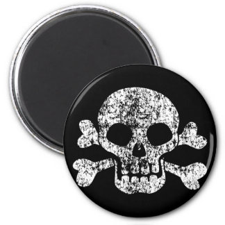 Abgenutzter Totenkopf mit gekreuzter Knochen Runder Magnet 5,1 Cm