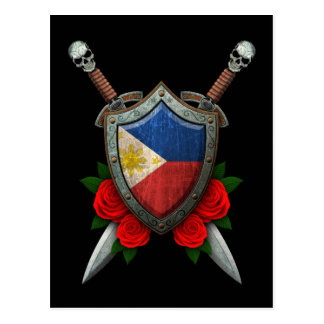 Abgenutztes philippinisches Flaggen-Schild und Postkarte