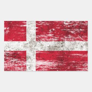Abgeriebene und getragene dänische Flagge Rechteckige Sticker