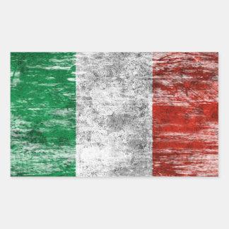 Abgeriebene und getragene italienische Flagge Rechrteckaufkleber