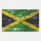 Abgeriebene und getragene jamaikanische Flagge Rechteckiger Aufkleber