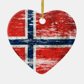 Abgeriebene und getragene norwegische Flagge Weihnachtsbaum Ornament