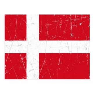 Abgeriebene und verkratzte dänische Flagge Postkarte