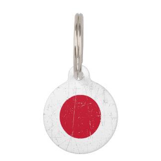 Abgeriebene und verkratzte japanische Flagge Haustiermarke