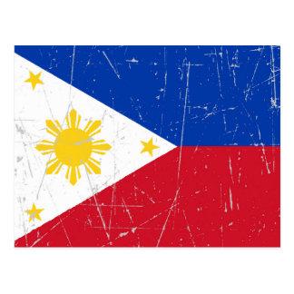Abgeriebene und verkratzte philippinische Flagge Postkarte